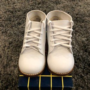 Boys White Leather Hi-Top Shoes